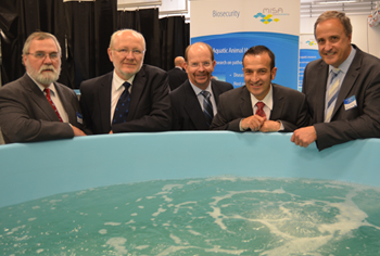 Prof. Rob Lewis, Prof. James McWha, Prof. Simon Maddocks, Mr Tony Piccolo MP and Mr Ian Nightingale at the launch of the SA Aquatic Biosecurity Centre