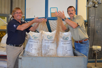 Dr David Stone (SARDI) and Dr Tom Coote (EP Aquafeeds) with abalone feeds prepared at SARDI