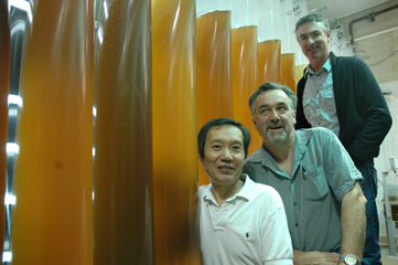 From front to back: SARDI scientist Dr Xiaoxu Li, Mussel Growers Association researcher Jon Bilton and Boston Bay mussel grower Mark Andrews
